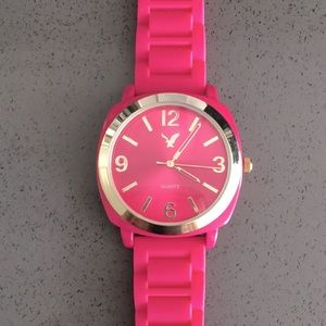 AEO Hot Pink & Gold 41mm Jelly Watch 💖
